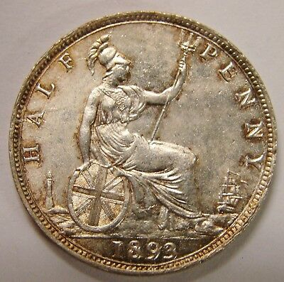 Great Britain - 1893 - Silver-Plated Halfpenny - Very Nice Looking!