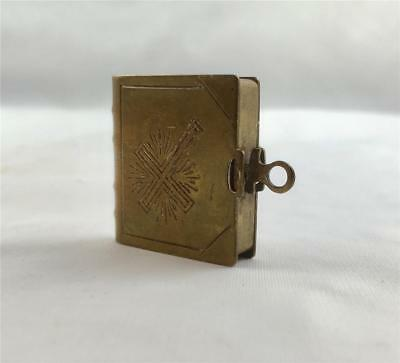 Antique Miniature Bible In Brass Cover Engraved Cross Possibly Souvenir c1910