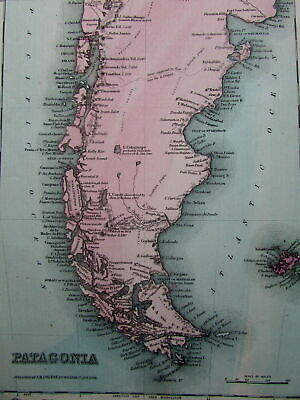 Patagonia South America Falkland Orkney So. Georgia 1864 scarce Colton map