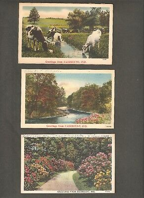 Vtg Postcard Lot of 3 Fairmount IND IN Indiana Greetings From Cows River 1940's