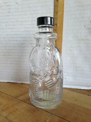 Vintage Poland Springs Mineral Water MOSES BOTTLE~Clear Glass ~Black Cap 1930's