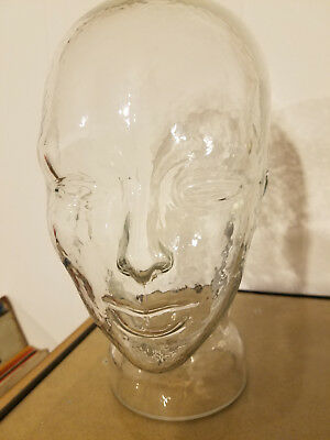"""Vintage Clear Glass Life Size Mannequin Head - 11"""" tall"""
