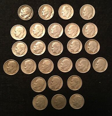 Lot of 26 ROOSEVELT 90% SILVER DIMES From The 1950s