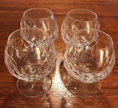 Genuine Crystal Set of 4 Crystal Brandy Snifters Glasses - Mint Condition