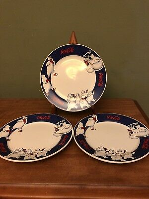 Three 1998 Official Coca Cola Polar Bear Motif Porcelain Plate 7.5""