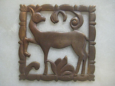 Old Art Deco Deer or Fawn; Older Vintage French Art Deco Die Struck Patina Brass