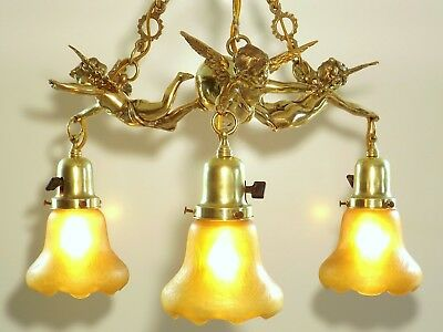 Antique French Napoleon III Angel Cherub Bronze Brass Chandelier Ceiling Light