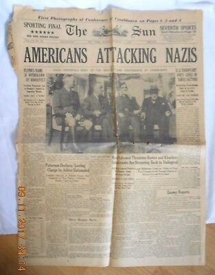 """Vintage Newspaper """"americans Attacking Nazis"""" February 1 1943 The Sun New York"""