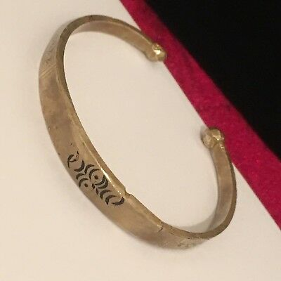 Etched Hammered Solid Brass Bronze Tone Druid Tips Cuff Bracelet #B4