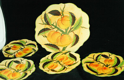 """11"""" Jerywill Plate & Four 7"""" Plates Peaches with Leaves Made in Japan"""
