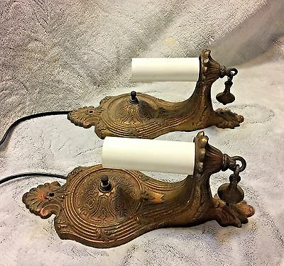 Pair Antique ART DECO Sconce Wall Light Cast Iron Switched 1920's EXCELLENT COND