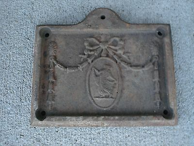 ANTIQUE CAST IRON STOVE DOOR COVER ORNATE DETAIL Stamped C102 Rusty