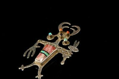 Vintage Navajo Sterling Opal Coral Turquoise Kachina Signed Pendant A802-66