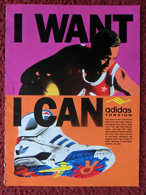 1990 Print Ad ADIDAS Torsion Tennis Shoes Sneakers ~ I Want. I Can. Basketball