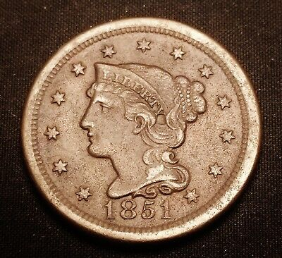 1851 Large Cent - Great Looking Older Coin with Lots of Detail