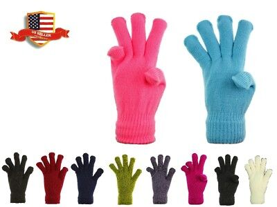 Wholesale Adult Kids 12 Pairs Magic Knit Gloves Winter Warm One Size Fits Most
