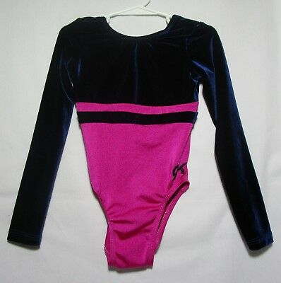 GK Elite dance/gymnastics long sleeve leotard pink with navy velour top size 5