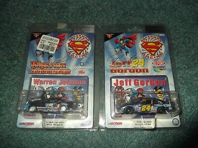 2 Warner Brothers Store Superman NASCAR Cars Jeff Gordon Warren Johnson Sealed