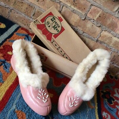 Vintage Sioux Mox Pink Leather Fur Trim Moccasins Slippers Womens Size 8