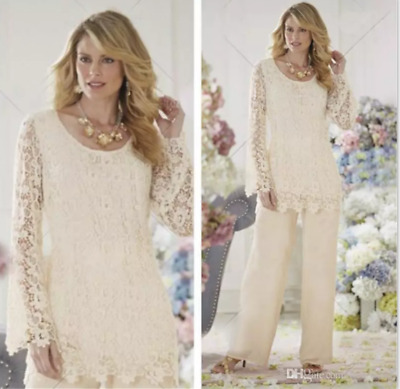 5c4094069ca New Vintage Mother of the Bride Dresses Pant Suits Chiffon Lace for Wedding  Gown