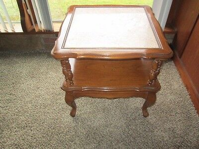 Matching Pair of Antique Marble Top End Tables