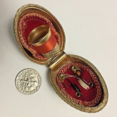 U0137, Vintage GORGEOUS Brass Egg Sewing Kit Holder with Thimble & Accesorcies