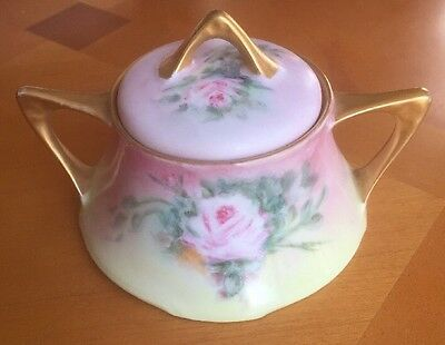 Unique Z.S. & CE Bavaria Sugar Bowl With Lid Roses/Gold Trimming