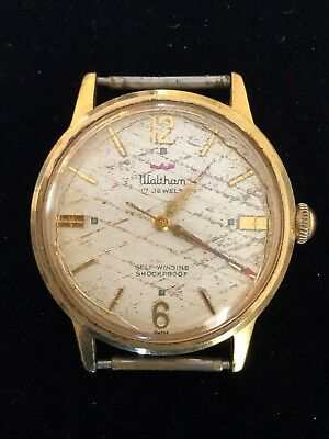 Vintage Mens Waltham Self Winding 17 Jewel Gold Watch for Parts or Repair