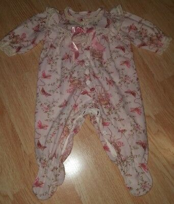 Vintage girls 0-3 months sleeper footed romper butterfly lace trim