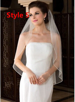 3M 2Tiers Ivory White Bridal Wedding Long Veil Cathedral Lace Edge With Comb