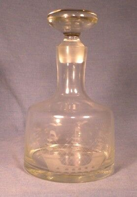 ELEGANT GLASS DECANTER with ETCHED 3 MASTED SHIP - MARITIME THEME FITTED STOPPER