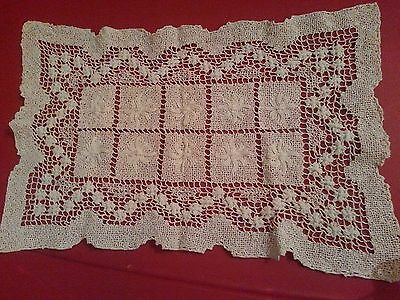 Antique handmade Italian knot work embroidered place mat scarf doily 10 x 15 vtg