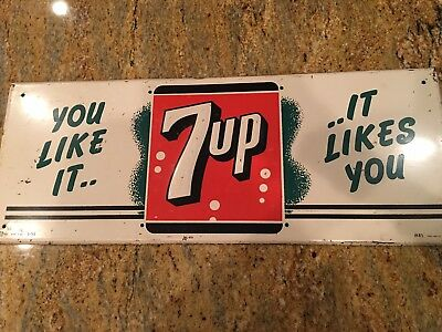 """Vintage 7 Up """"You Like It, It Likes You"""" Embossed Metal Sign, 1956, Advertising"""