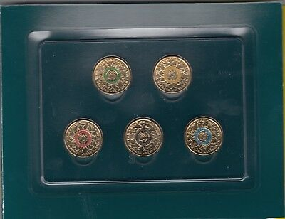 2016 $2 Australian Olympic Team Coin Set Of 5 Coloured Uncirculated Coins