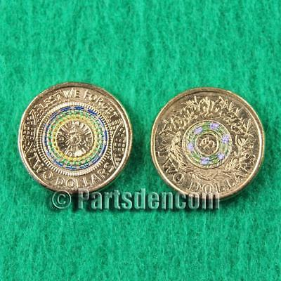 2 x 2017 $2 two dollar coins coloured 1 Anzac Day 1 Remembrance Day coin unc