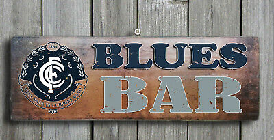 Carlton BLUES - Wooden Bar Plaque Bar Sign FREE POST