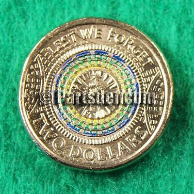 1 x 2017 $2 two dollar coin coloured Anzac Day Lest We Forget coins unc RAM bag