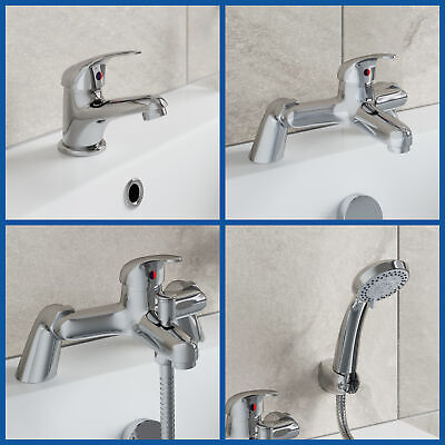 Bathroom Taps Set Modern Mono Basin Sink Mixer Bath Filler Shower Mixer Chrome