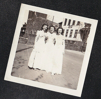 Antique Vintage Photograph Three Young Women in Long White Dresses in Yard