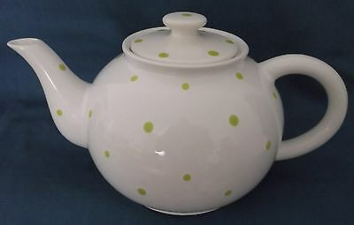 Vintage Retro Style White With Green Polka Dots Spots Teapot Louçarte Portugal