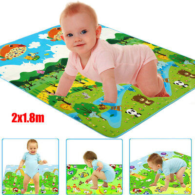 2mx1.8m Baby Thick Kid Floor Play Mat Rug Waterproof Picnic Cushion Crawling Mat