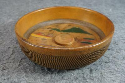Wood Bowl With Symettric Chiseled Design And Hand-Painted Asian Scene