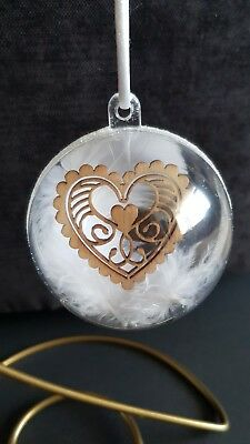 Hand Made Valentines Wedding Loved One Bauble Decoration Gift Heart and Feathers