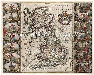 NEW Colour Color Old Map Saxon Britain England by Willem Blaeu Britannia Prout