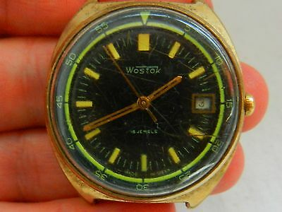 VTG Soviet RUSSIAN WOSTOK Wristwatch watch GOLD PLATED USSR old rare СССР army