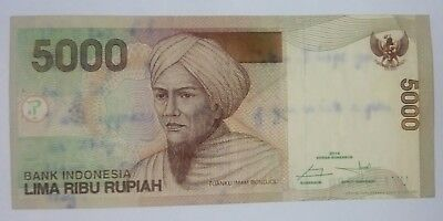 Indonesia 5000 rupiah series 2001, serial number UY 1786230 circulated