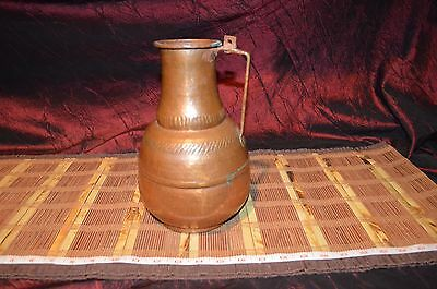 Large Antique Hand Hammered Copper Pitcher Vase Decor with Copper Handle 10""