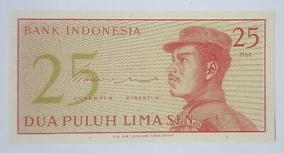 Indonesia 25 sen UNC, 'new rupiah' series 1965, serial number CWF 014747