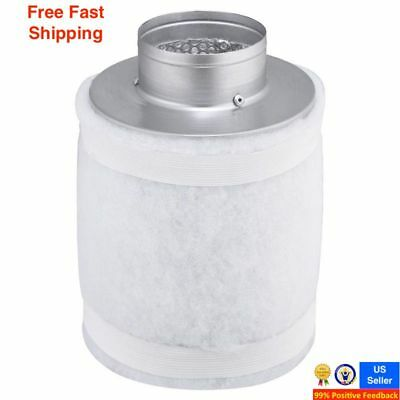 4 150CFM Hydroponic Air Carbon Filter Odor Control Scrubber for Inline Exhaust.