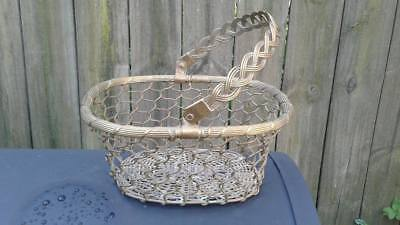 Vintage Heavy Brass Wire / Rope Basket with Handle.& Weaved Bottom